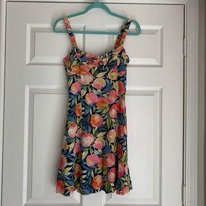 Peach Fruit print vintage inspired mini dress 🍑